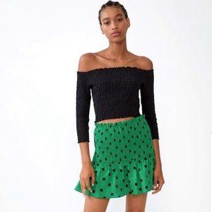 Zara Polka Dot Large Smocked Elastic Band Skirt